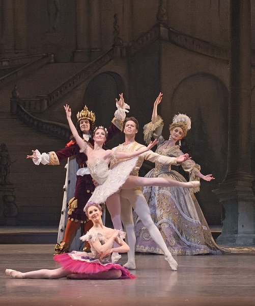 Lauren Cuthbertson as Princess Aurora and Matthew Golding as Prince Florimund in The Royal Ballet production of The Sleeping Beauty (2006), choreographed by Frederick Ashton (1904-1988), Anthony Dowell  and Christopher Wheeldon after Marius Petipa (1818-1910), to music by Pyotr Ilíyich Tchaikovsky (1840-1893), based on designs by Oliver Messel (1904-1978). Performed at the Royal Opera House, Covent Garden on  22 February 2014 ***ARPDATA*** THE SLEEPING BEAUTY ;  Music by Tchaikovsky ;  Choreography by Petipa ;  Lauren Cuthbertson (as Princess Aurora), Matthew Golding (as Prince Florimund), Melissa Hamilton (as the Lilac Fairy), Gary Avis (as King Florestan), Christina Arestis (as His Queen), and artists of The Royal Ballet ; The Royal Ballet  ;  At the Royal Opera House, London, UK ;  22 February 2014 ;  Credit: Tristram Kenton / Royal Opera House / ArenaPAL
